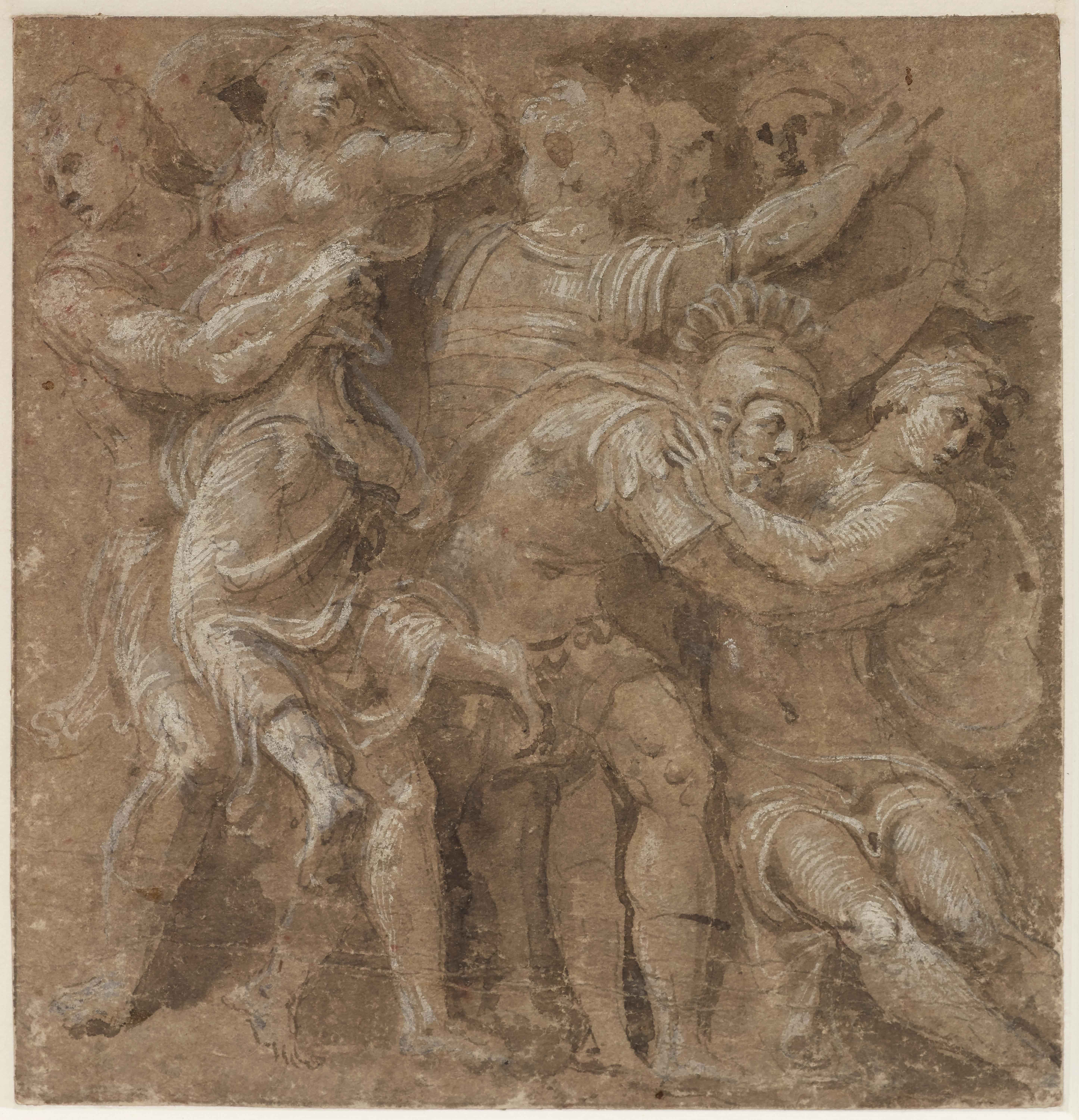 The Abduction of the Sabine Women, a drawing by Polidoro da Caravaggio