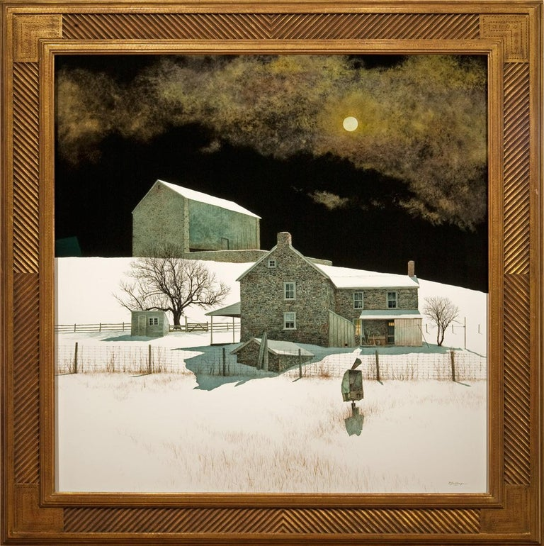"""Peter Sculthorpe Landscape Painting - """"Moonlight Over the Farm"""""""