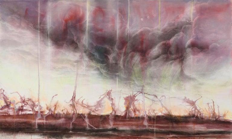 Judith Brandon Landscape Art - Pink Elephants / No Harm Done