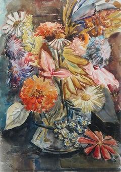 "Modernist Floral Watercolor, signed ""OK"""