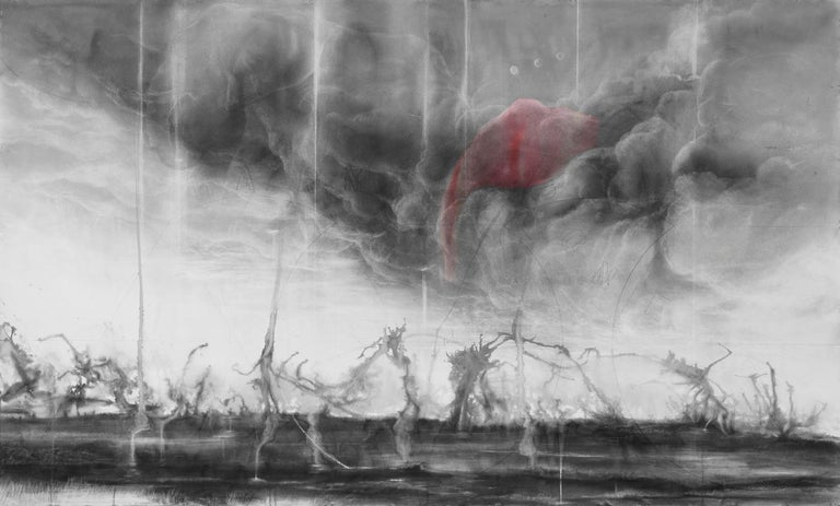 Pink Elephants / No Harm Done - Brown Landscape Art by Judith Brandon