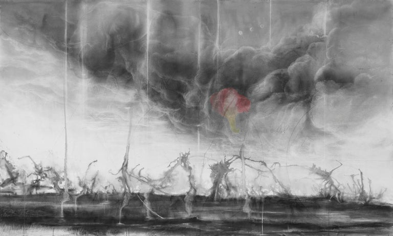 Judith Brandon Pink Elephants / No Harm Done 2018 Signed & Dated Lower-Right Ink, Charcoal and Pastel on Incised Cotton Paper 42 x 70 inches  49.75 x 77.25 inches (framed) This thoughtful piece laments the elephant population being hunted to