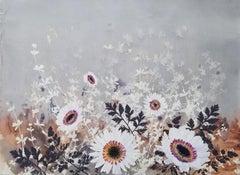 Magic Meadow - floral botanical watercolor screenprint in neutral tones