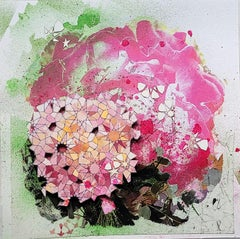 Peace Float, pink floral abstract with Islamic geometric patterns