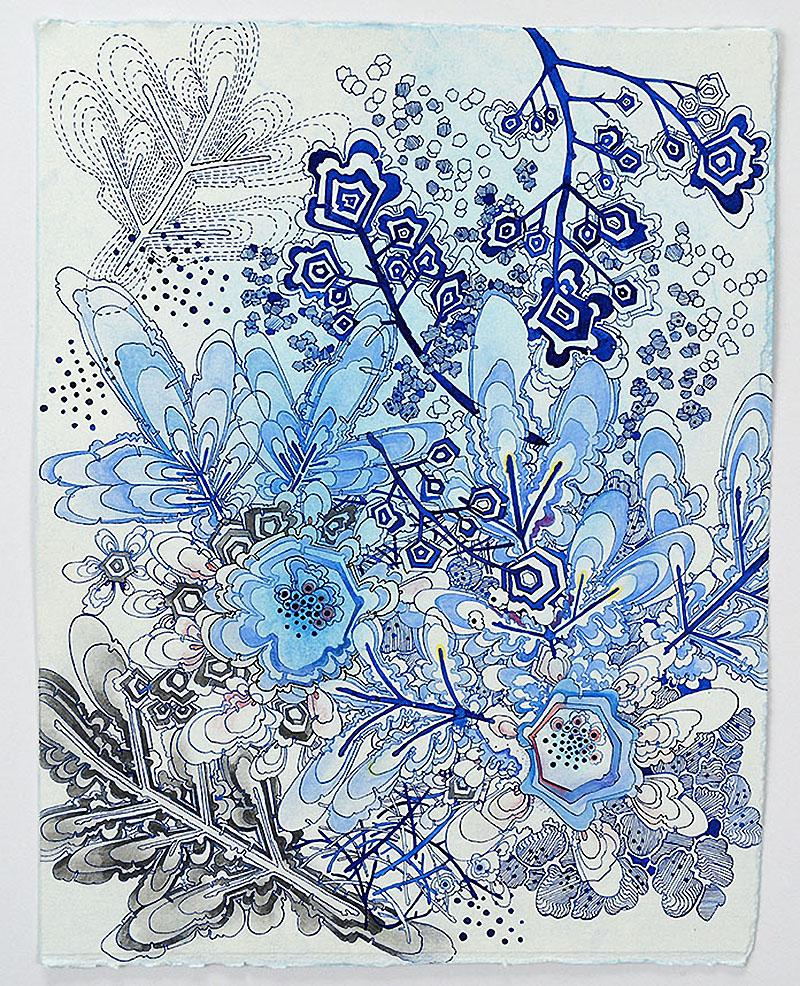 Ice Flora, blue biomorphic contemporaory botanical drawing