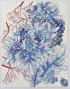 Underwater Pink Branches, blue biomorphic contemporary abstract landscape