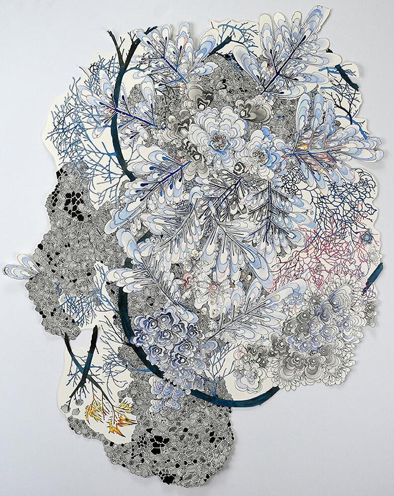 January - botanical nature inspired intuitive line drawing by Sarah Morejohn