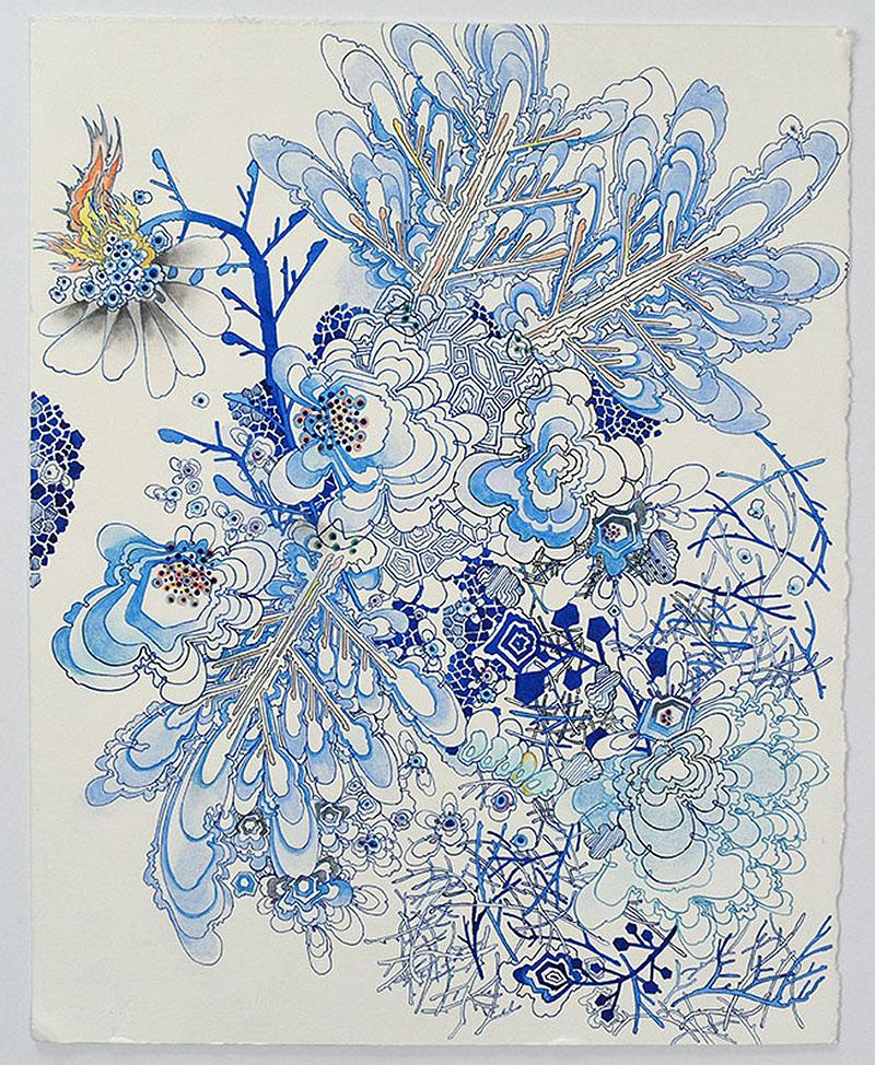 Blossom Fire - blue ink abstract botanical mixed media drawing