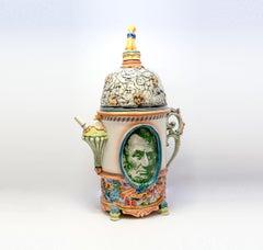Americana Ceramic Teapot with Abraham Lincoln