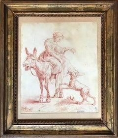 "Sanguine drawing ""Shepherdess on a Donkey"" by Nicolaes Berchem"