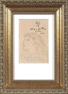 Leonard Foujita, Madeleine 'Mady' Dormans, ink and gouache, original, certified