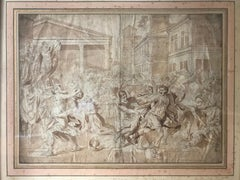 The Rape of the Sabine Woman, ink and pencil. After Nicolas Poussin