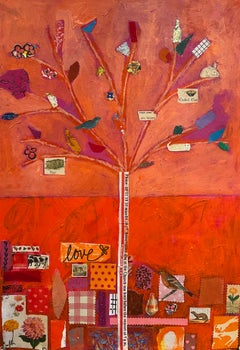 Childhood's End Series: Orange and Pink,  Mixed Media Collage on Paper
