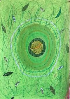 Mandala Series: Green Gold with Yellow Bird