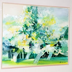 Camille Hilaire - Green Trees - Original Signed Watercolor