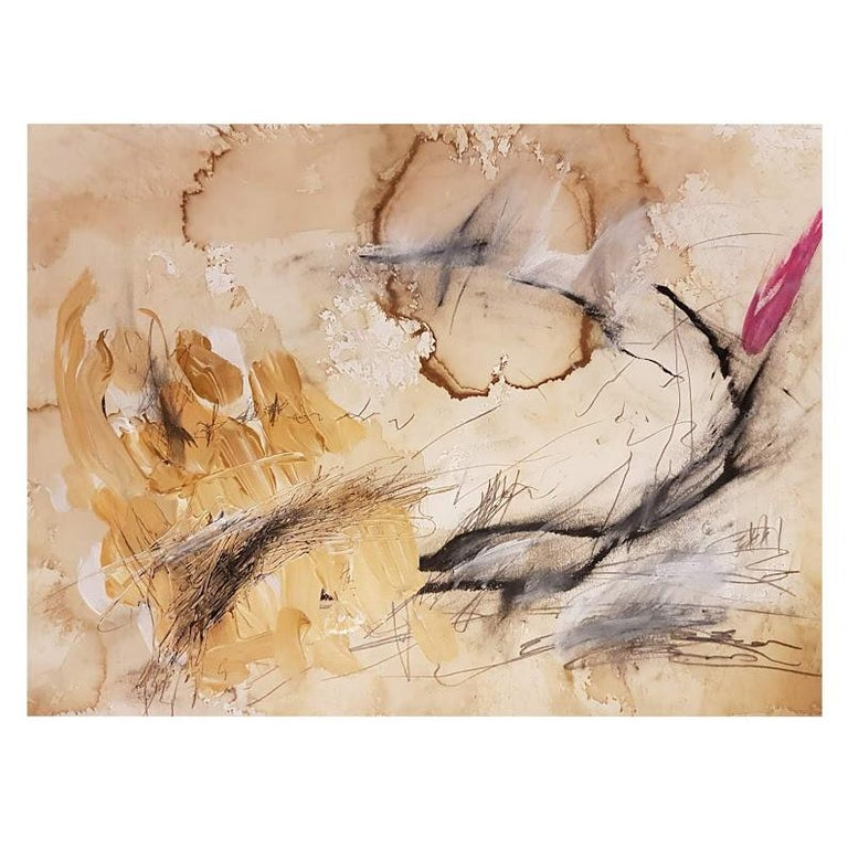 Kyte Tatt - Original Painting Signed Dimensions : 42 x 56 cm Medium : Coffee, Graphite, Acrylic, Oil Pastel, on Paper  Kyte Tatt is an American-born mixed media artist based in Berlin Germany. Kyte has been honing his skills as an artist for many
