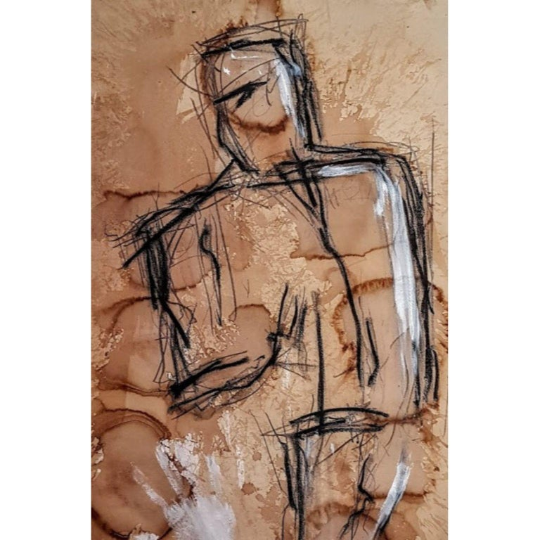Kyte Tatt - Original Painting Signed Dimensions : 70 x 100 cm Medium :  Coffee, Charcoal, Graphite, Acrylic on Raw Paper  Kyte Tatt is an American-born mixed media artist based in Berlin Germany. Kyte has been honing his skills as an artist for many