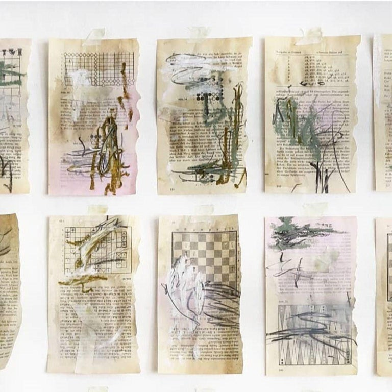 Kyte Tatt - Original Painting Signed Set of 15 Dimensions : 10 × 17.5 cm each Medium : Coffee, Spray Paint, Graphite, Acrylic, Oil stick   Kyte Tatt is an American-born mixed media artist based in Berlin Germany. Kyte has been honing his skills as
