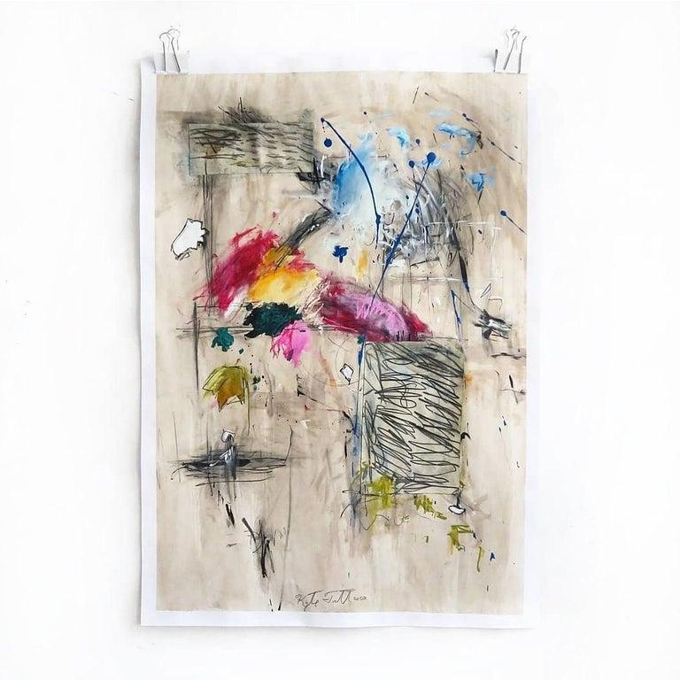 Kyte Tatt - Original Painting - Beige Abstract Painting by Kyte Tatt