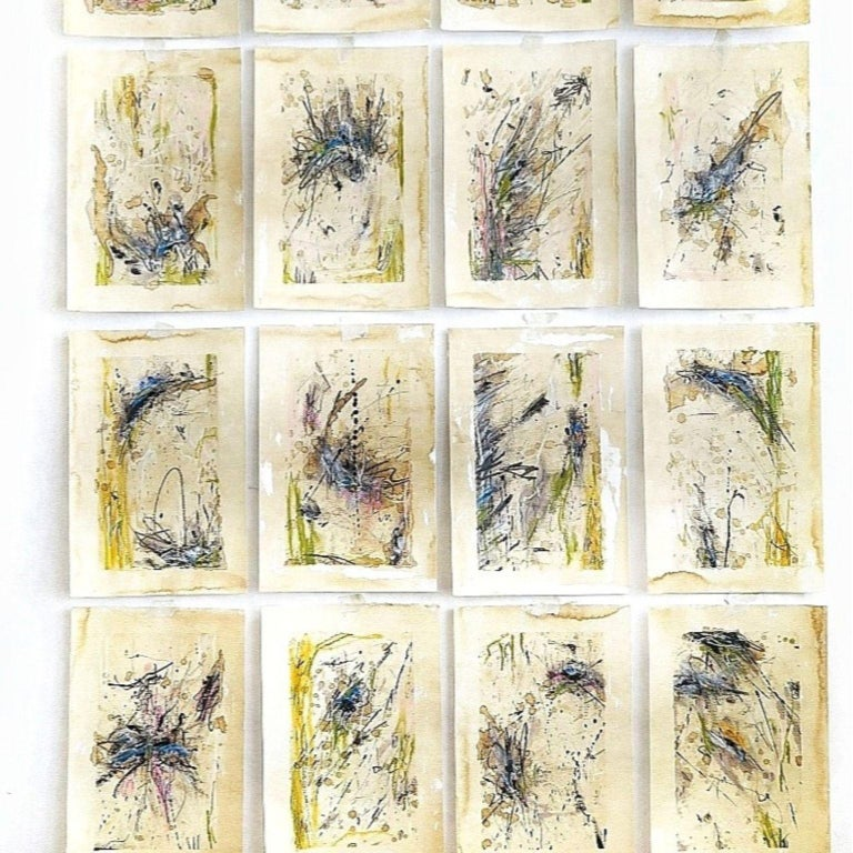 Kyte Tatt - Original Painting Signed Set of 16 Dimensions : 20 × 30 cm each Medium : Acrylic, Graphite, Coffee, Soft Pastel, on Paper   Kyte Tatt is an American-born mixed media artist based in Berlin Germany. Kyte has been honing his skills as an
