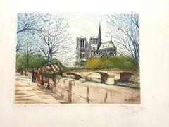 Dufza - Paris - Quai de la Tournelle - Original Handsigned Etching