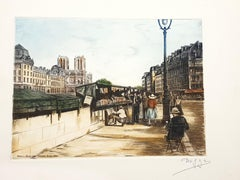 Dufza - Paris - Quai des Grands Augustins - Original Handsigned Etching