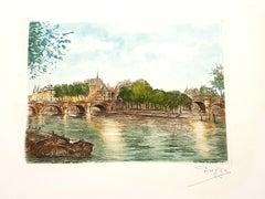 Dufza - Paris - Le Pont Neuf - Original Handsigned Etching
