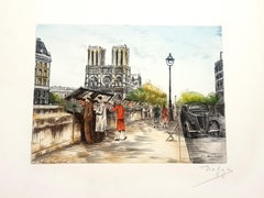 Dufza - Paris - Saint Michel - Original Handsigned Etching