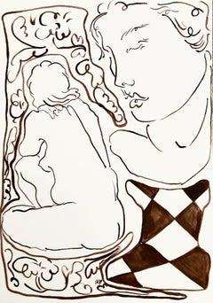Bathe, Ink on Cartridge Paper, 29.7 x 42 cm, 2021