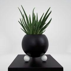 Arty Plant Pot Sculpture Black and White