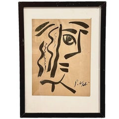 Peter Robert Keil Framed Ink Portrait on Paper in the Manner of Pablo Picasso