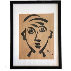 Early Ink on Paper Portrait in the Manner of Pablo Picasso