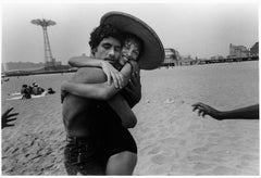 The Hug; Closed Eyes and Smile, Love, Cosney Island, beach, New York