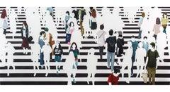 """Paralelos y Meridianos"" Oil painting of people on black and white crosswalk"