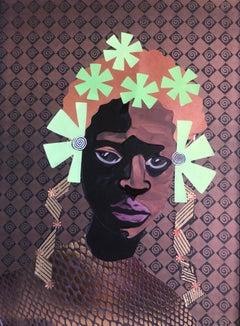 """I Am Essence"" Mixed Media portrait of African woman with green flowers in hair"