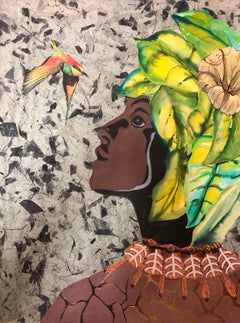 """Speaking with the Ancestors"" mixed media portrait of a woman and a hummingbird"
