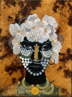 """Gentle Woman"" Mixed media portrait of woman with gold and white flora in hair"