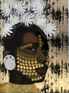 """Crowns to You"" mixed media portrait of a black woman with a white floral crown"