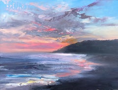 """""""Atlantic Evening"""" oil painting of pink sunset and clouds over the ocean shore"""