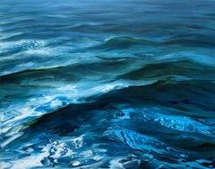 """""""Crossing"""" oil painting of waves in a deep blue ocean"""