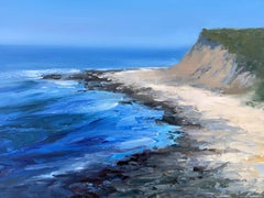 """""""Cerulean Cove"""" oil painting of cliffs and blue crashing waves on the shore"""
