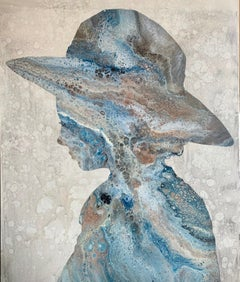 """Splash Silhouette"" female silhouette wearing sun hat with blue and brown marble"