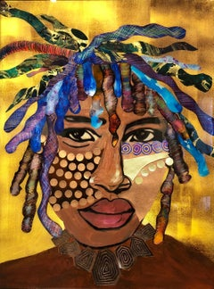 """Strength and Power"" Mixed media African portrait with face paint and gold back"