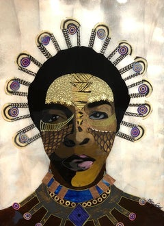 """Africa To Me"" Mixed media portrait with gold face paint and tribal necklace"
