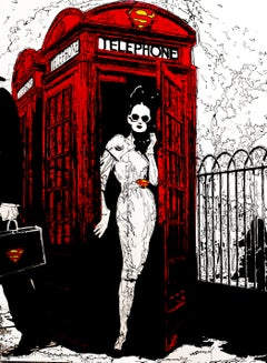 """""""You Rang Me"""" a woman poses in a red telephone box wearing sunglasses"""
