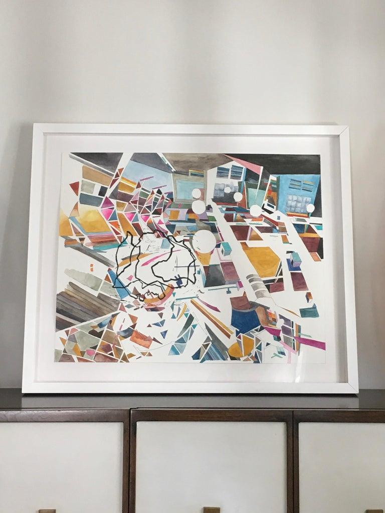 New Nostalgias, Landscape, Interior space, Watercolor, Block print on paper - Contemporary Art by Yasemin Kackar Demirel