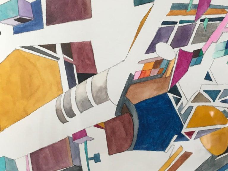 New Nostalgias, Landscape, Interior space, Watercolor, Block print on paper - Brown Landscape Art by Yasemin Kackar Demirel