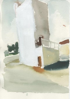 VFD 3, watercolor on paper, unframed.  Industrial landscape, California artist