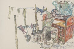 Watchmaker, Drawing, Inventor, Work on Paper, Ink, Watercolor, Tan, Yellow