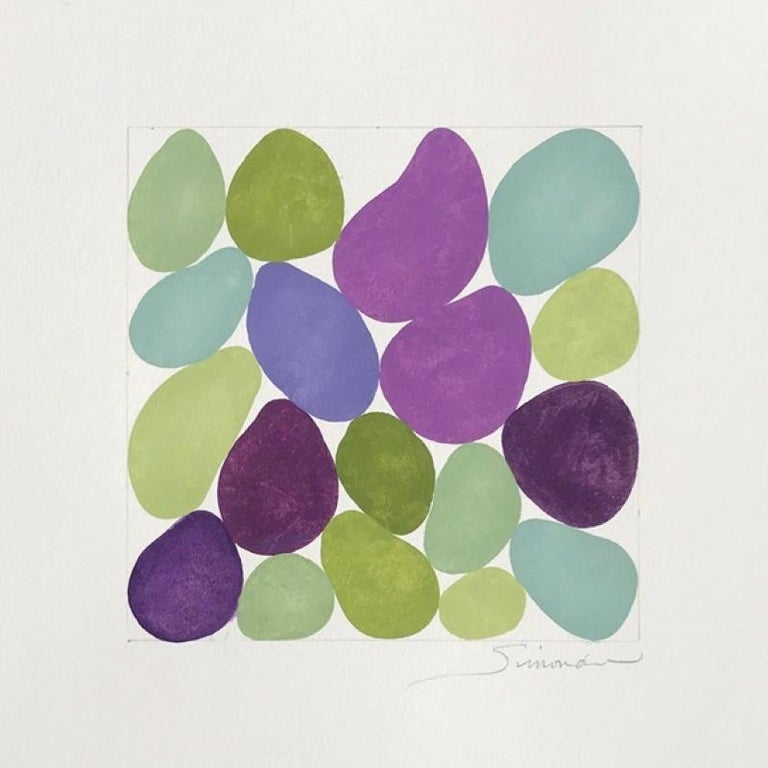 Nancy Simonds Abstract Painting - Cercis Spring III, Work on Paper, Gouache, Purple, Green, Framed, Calm